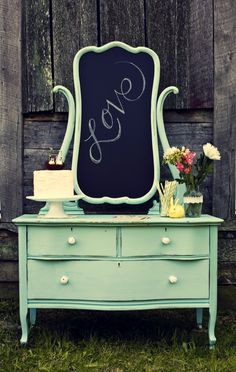 Vanity with a mirror turned into a chalk board