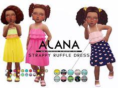 Alana Strappy Ruffly Dress at Onyx Sims