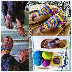 DIY * Granny Square Chic Sandals * | por AowDusdee