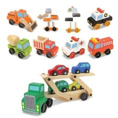 Amazon.com: Melissa & Doug Car Carrier Plus Stacking Construction and Emergency Vehicles Bundle