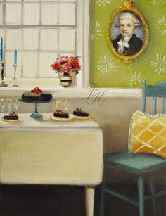 The Duke And The Flourless Chocolate Cake ~ Janet Hill Janet Hill, Flourless Chocolate Cakes, Paintings I Love, Canadian Artists, Studio Portraits, Room Paint, Contemporary Paintings, Lovers Art, Life Is Good
