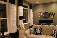 homemade white ruffle curtains with hot pink and grey instead. Ruffle Curtains, Diy Home Crafts, Ballard Designs, Girls Bedroom, Bedroom Ideas, Window Treatments, Family Room, Sweet Home, New Homes