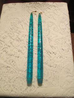 "Pair Of  Aqua  Silver Confetti Lucite Acrylic 12"" Taper Candles Retro"