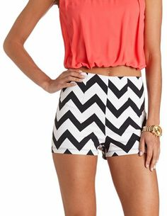 Chevron Print High-Waisted Shorts: Charlotte Russe