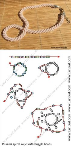 Best Seed Bead Jewelry 2017 Russian Spiral rope with bugles Seed Bead Tutorials Beading Patterns Free, Beaded Jewelry Patterns, Beading Tutorials, Bead Jewellery, Seed Bead Jewelry, Diy Bordados, Bijoux Wire Wrap, Ideas Joyería, Spiral Pattern
