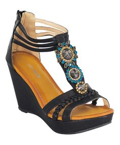 TOP MODA Black Embellished Wedge Sandal | zulily