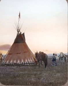 Colourised photos of a Siksika indian (Blackfoot) tipis taken by Walter McClintock