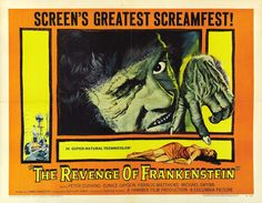 """Movie Poster for the Hammer horror film """"The Revenge of Frankenstein"""" directed by Terence Fisher and starring Peter Cushing as the titular mad scientist Horror Movie Posters, Movie Poster Art, Horror Film, Film Posters, Frankenstein, Hammer Films, Hammer Movie, Classic Horror Movies, High Resolution Wallpapers"""