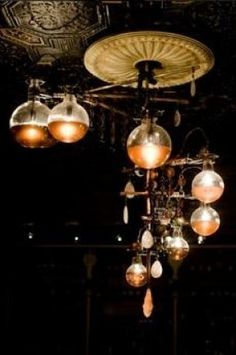 Steampunk lamps made from chemistry glass ware, round bottom boiling flasks look so cool and you can use the stands to hold them in place…