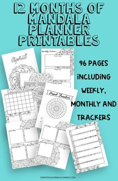 12 months of printables for planners or Bullet journals. Color each months unique mandala in for relaxation. Planner Sheets, Printable Planner Pages, Bullet Journal Printables, Bullet Journal Themes, Planner Template, Planner Inserts, Templates Printable Free, Bullet Journals, Bullet Journal Mandala