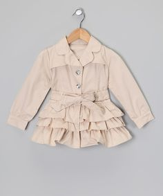 Take a look at this Beige Ruffle Trench Coat - Toddler & Girls on zulily today! Type 2 girl