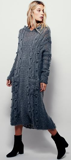 Mes Demoiselles Paris - handmade cable knit maxi hoodie sweater dress