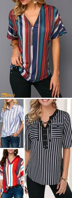 Striped women's blouses, trendy blouses for women with competitive price Outfits For Teens, Summer Outfits, Casual Outfits, Fashion Outfits, Blouse Outfit, Corsage, Look Cool, Blouse Designs, Trendy Fashion
