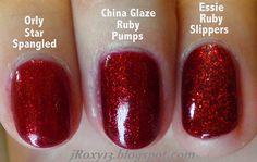 Ruby Red Glitter Comparison (Orly Star Spangled vs. China Glaze Ruby Pumps vs. Essie Ruby Slippers) by jRoxy13, via Flickr