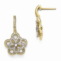 Brilliant Embers Sterling Silver Gold Plated Flower Dangle CZ Post Earrings
