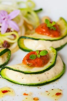 "Using thinly sliced zucchini ""Raw Ravioli with Sun Dried Tomato Sauce""  &  Notta Ricotta Filling  3/4 cups raw cashews or macadamia nuts 1/4 cup pinenuts 3 tablespoons water 1 tablespoon freshly squeezed lemon juice-Mark Reinfeld's recipe"