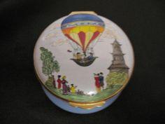 England Crummles & Co. Hot Air Balloon Trinket Pill Box Enamel Enamelware