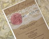 "Lace Bridal Shower Invitation. . .""Laced with grace"". $3.35, via Etsy."