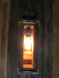 Reclaimed oak wall mounted lamp. $90.00, via Etsy.