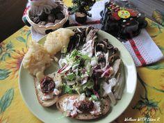 Pranzo di fine anno: Indivia belga, radicchio trevigiano grigliato, insalata mista con salsa alle erbe, crostini con insalata russo e pomodorino secco sottolio, e pettole!