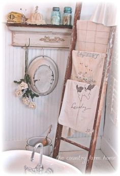Shabby Chic towel holder and can be used as a quilted throw for the living room