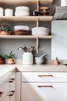 .open kitchen shelves light bright white beige wood