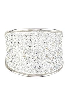 Sterling Silver Crystal Wide Band Ring