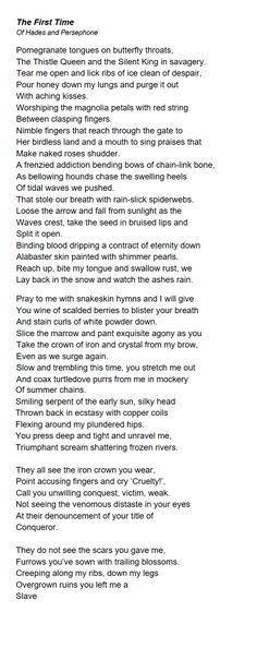 The First Time: Original poem for Hades and Persephone. By me. Technically 18+? But not graphic.