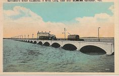 Galveston Causeway: Vintage Linen Look Postcard by snap713, via Flickr