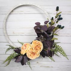 Modern fall wreath using updated fall colors! These are the perfect colors for a trendy fall decor. Watch me make this wreath and get instructions for your own. Diy Craft Projects, Diy Crafts, Easter Wreaths, Summer Wreath, Crafty, Fall Decorations, Holiday Decorating, Wall Art, Purple