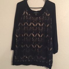 Nine West Black Lace Blouse Gorgeous, light weigh, great condition. Nine West Tops Blouses