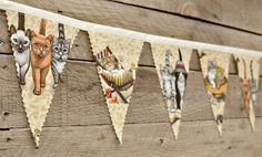 Cats - Vintage Bunting Banner with 12 Flags. $25.00, via Etsy.