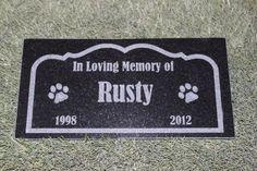 Engraved Pet Memorial Grave Marker Headstone Garden Stone 6 inch x 12 inch Black Granite ** Review more details here : Dog Memorials