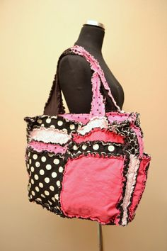Diaper Bag PURSE Rag Quilted Tote hot pink by avisiontoremember