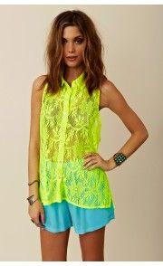 Blu Moon Sleeveless Lace Pocket Shirt