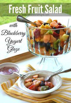 Easy and Delish Fruit Salad with Blackberry Yogurt Glaze #summer #salad