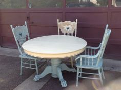 Old Claw Foot Table And Chairs Done In Annie Sloan Country Grey And Duck  Egg.