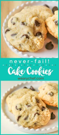 These soft cakey chocolate chip cookies will satisfy your cake and cookie craving at the same time. This foolproof recipe will turn out just right every time!