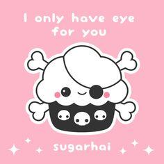 Kawaii cupcake pirate love quote. I only have eye for you. Aw. Tumbler Drawings, Cupcake Clipart, Pirate Cupcake, Kawaii Potato, Halloween Doodle, Kawaii Doodles, Tumbler Designs, Scrapbook Journal, Kawaii Drawings