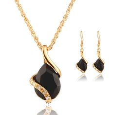 Women's Gold Tone Water Drop Black/Clear Crystal Necklace Set
