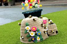 July 16, 2014 - Wesley Street in Southport burst into colour; it was 'bombed' with yarn. Knitted and crocheted flowers and bees filled the street.