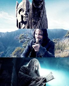 LOTR. Love it! Hahaha! I love Aragorn's expression in the middle. lol XD