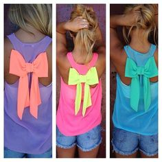 So cute! Summer bow top shirt: Use a raserback tank and grab some fabric from your local fabric store. After you tie the bow, attache it to the shirt with a hot glue gun. If it comes off in the drier after a few washes, apply a little more.
