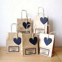 Wedding Favour bags SMALL with Black Heart tag by shintashop, £1.80