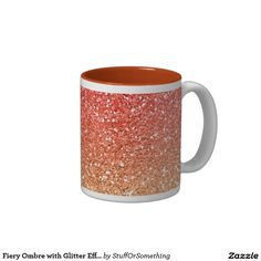 Fiery Ombre with Glitter Effect Two-Tone Coffee Mug