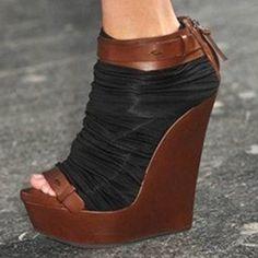 Shoespie Patchwork Wedge Sandals
