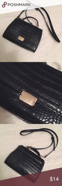 Zara Black Faux Leather Crossbody Bag Gently worn - there are minor scratches on the hardware, but the inside and outside look fairly new! Zara Bags Crossbody Bags
