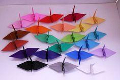 Twenty two colors Paper crane ツル crane origami 折り紙 おりがみ papercrane paper
