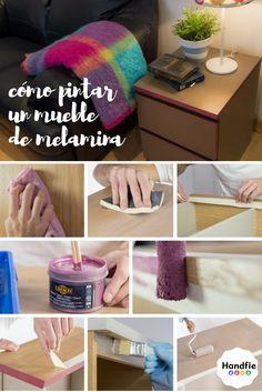 Pintar melamina ➜ ¿Quieres renovar un mueble viejo que no te gusta el color? ¡Es muy fácil! Se puede pintar encima de la melamina sin necesidad de imprimación. #DIY #melamina #comopintarmelamina #IKEAhack #tutorial #melamine