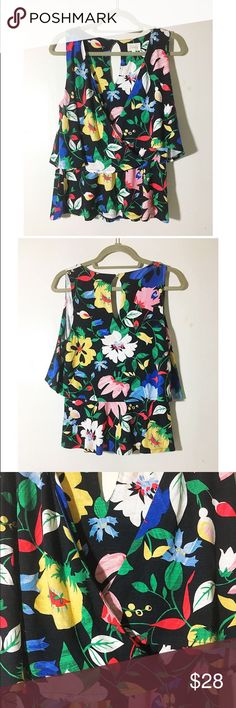 """FIRM Anthro Deletta floral tropical surplice top Tags removed, never worn. My sister bought this for a vacation and never ended up wearing it. Gorgeous, bold floral pattern. Approx 34"""" bust, 24"""" length. 95% rayon, 5% spandex. Comfy, jersey material.PRICE IS FIRM ❌trades/PP 💰make an offer on bundles Anthropologie Tops Blouses"""